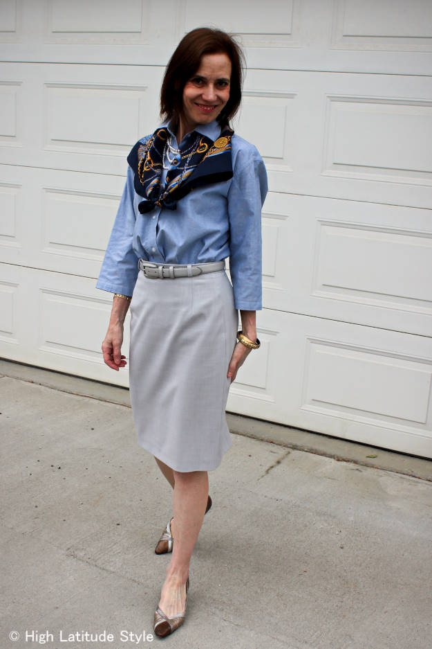 #grayPencilSkirt #chambaryShirt #silkScarf #multiMetalPumps