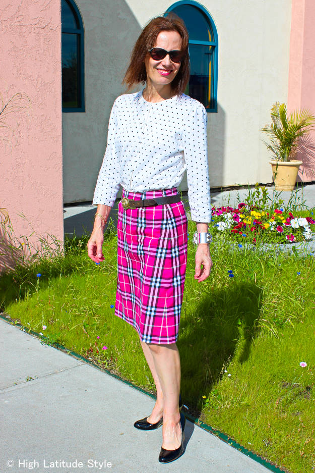 midlife woman wearing mixed pattern