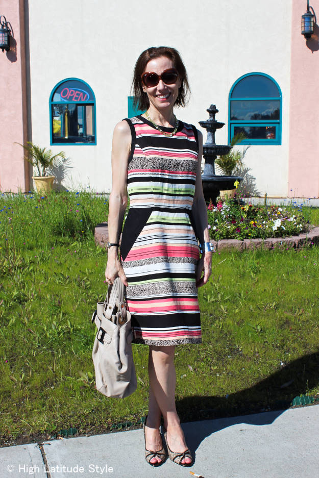 #fashionover40 mature woman in striped sheath dress with AK pumps http://www.highlatitudestyle.com