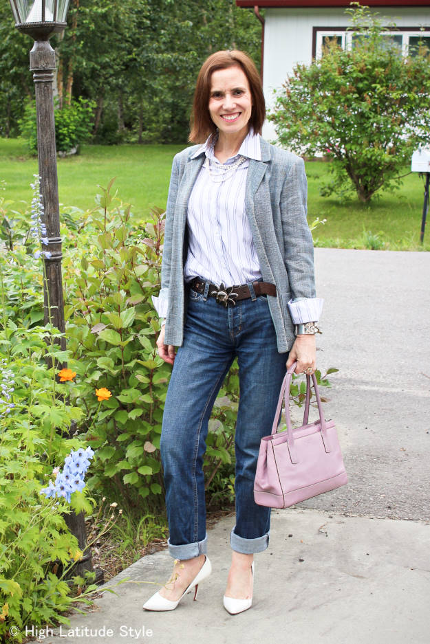 styleover50 mature woman wearing boyfriends in a business casual style
