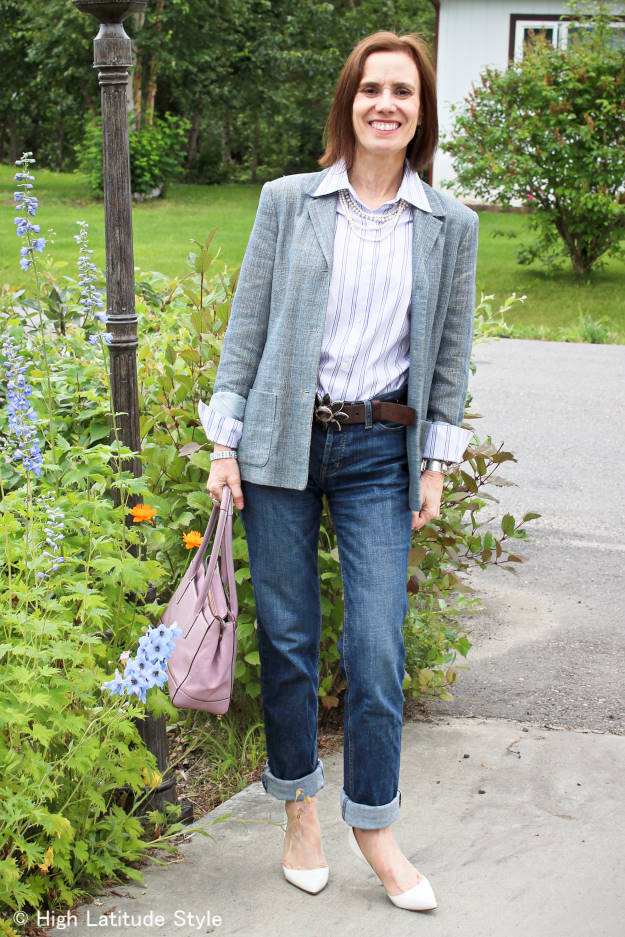 #styleover50 mature woman wearing BF jeans