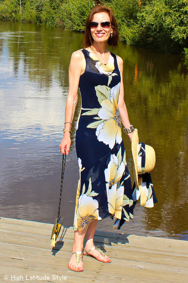 mature fashion woman in maxi dress