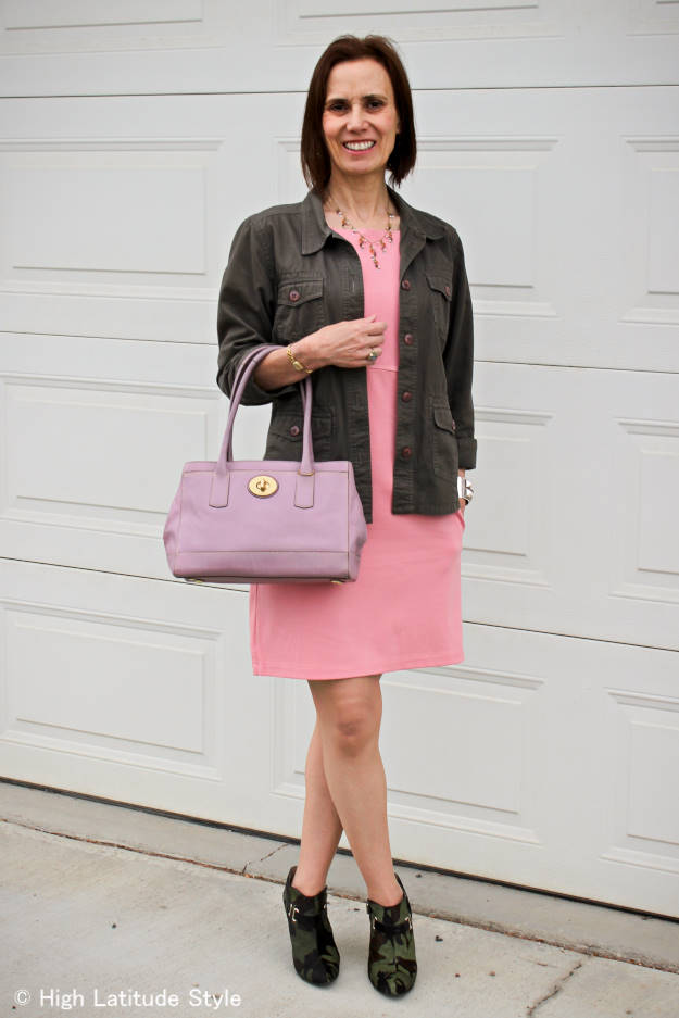 fashion over 40 mature woman in pink dress and utility jacket