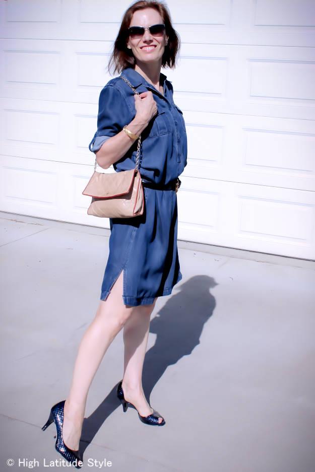 #denimshirtdress #HighLatitudeStyle http://www.highlatitudestyle.com