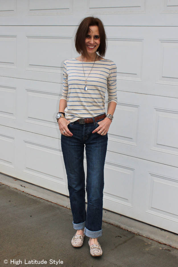 40plus woman in posh casual outfit