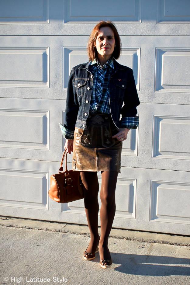 Alaska street style mature woman in Bavarian skirt