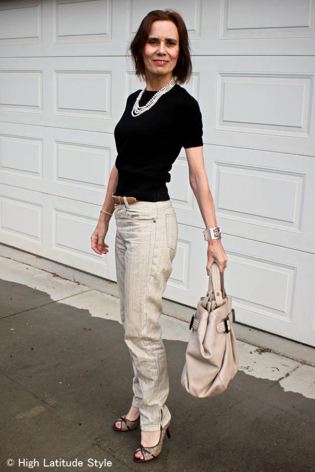midlife woman in casual posh look