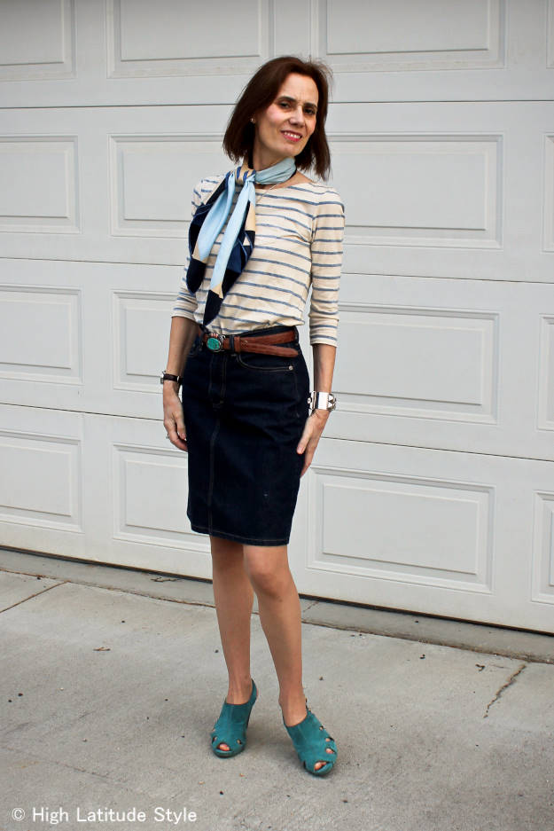 #MarineLayer mature woman with striped T-shirt