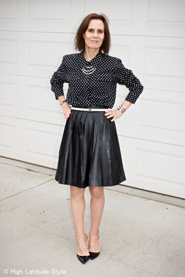 over 40 fashion woman in an office outfit with mixed prints and pattern