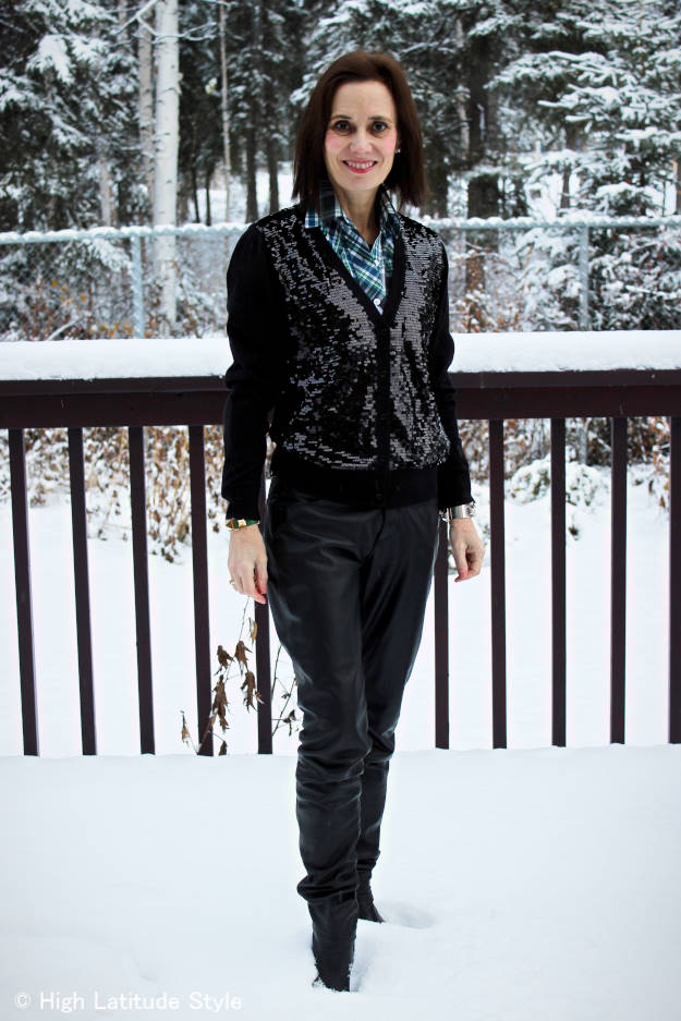 #streetstyle mature woman with sequin cardigan
