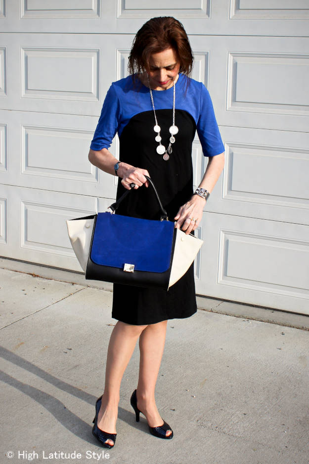 Mature woman in sheath dress