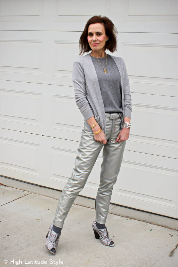 street style over 50 woman wearing silver pants for Casual Friday