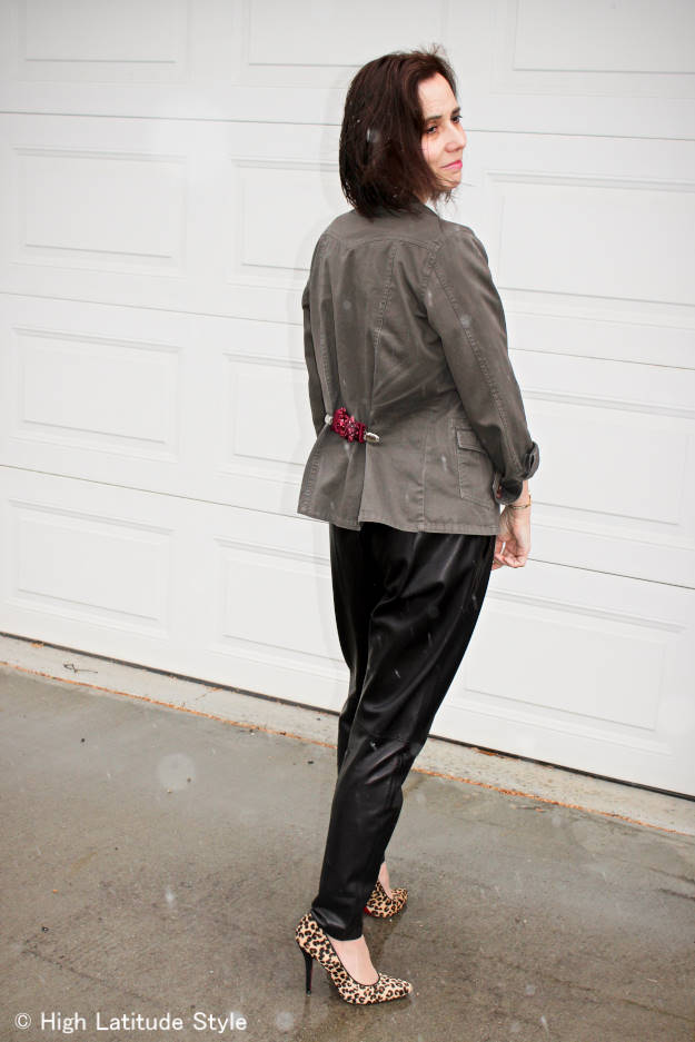 woman wearing an utility jacket with DIY click