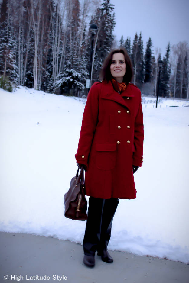 fashion over 40 pea coat with leather pants