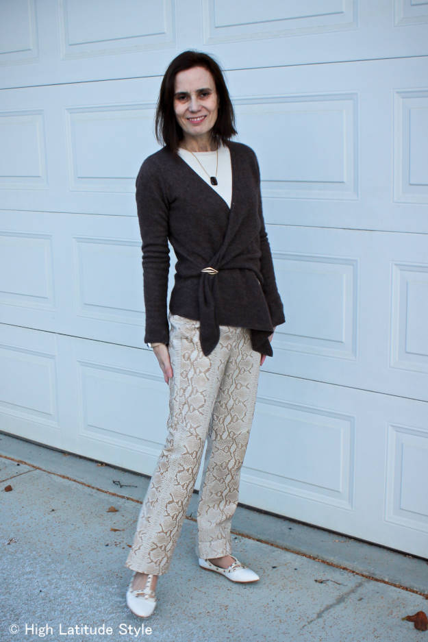 #over40fashion #over40style #styletip #workoutfit #HighLatitudeStyle #snakeprint http://wp.me/p3FTnC-2zD