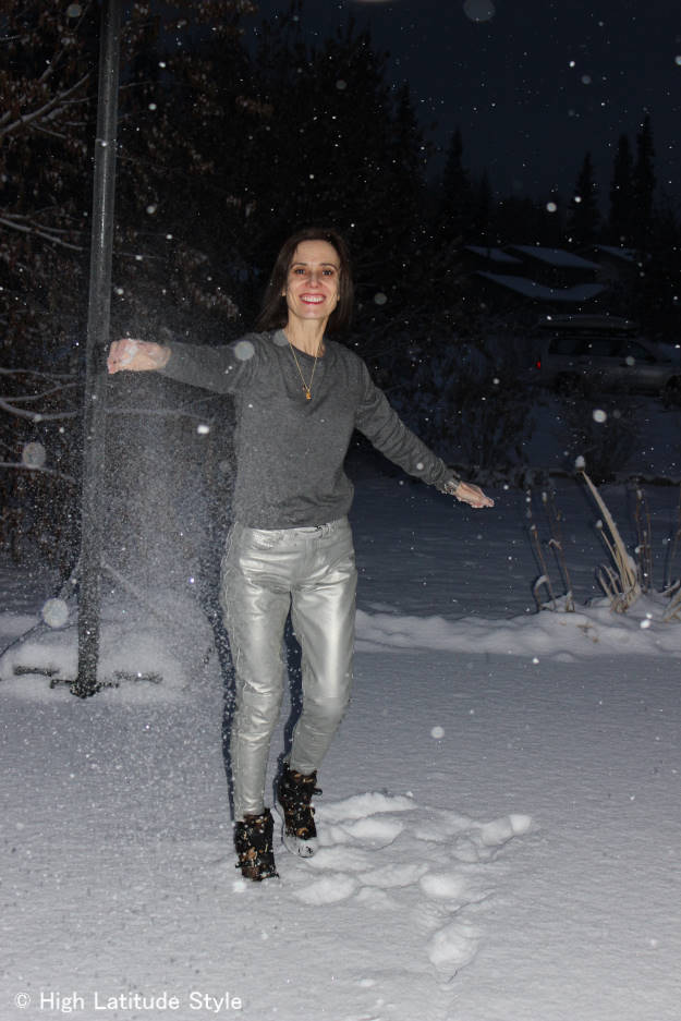 Over 40 having fun in a silver leather pants streetstyle outfit http://wp.me/p3FTnC-2Df