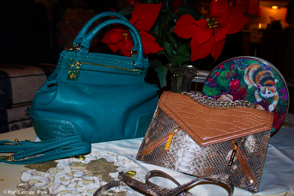 Emma Satchel (left) and Amber Convertible Crossbody minibag/clutch from the Olivia + Joy Holiday Collection