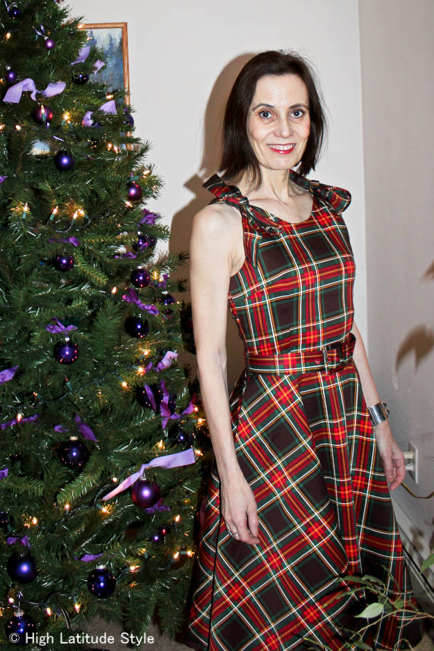 midlife woman in plaid holiday dress
