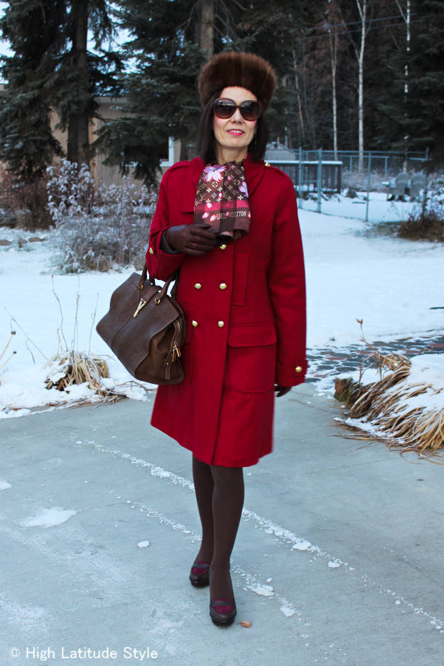 #over40style winter coat with silk scarf