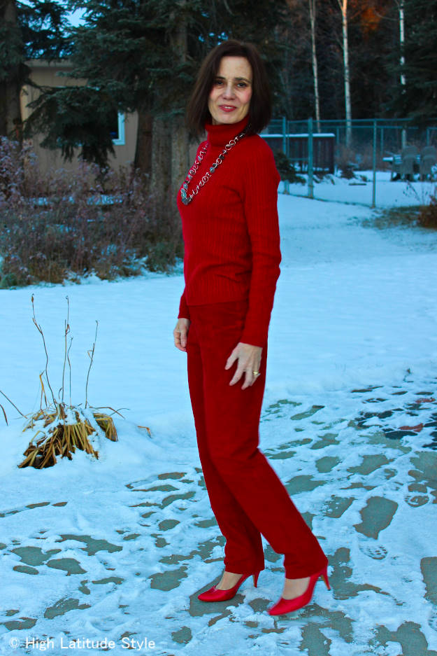 #fashionover40 mature woman wearing a monochromatic red work outfit http://wp.me/p3FTnC-2Do