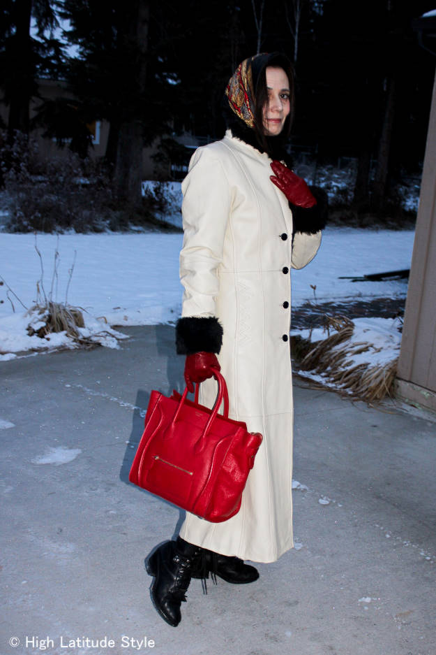 http://wp.me/p3FTnC-2AD #over40style long leather coat with Celine bag