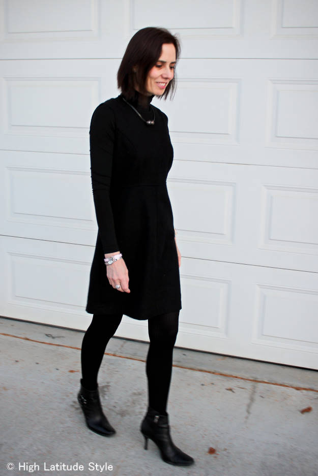 #fashionover40 woman in LBD and stiletto booties
