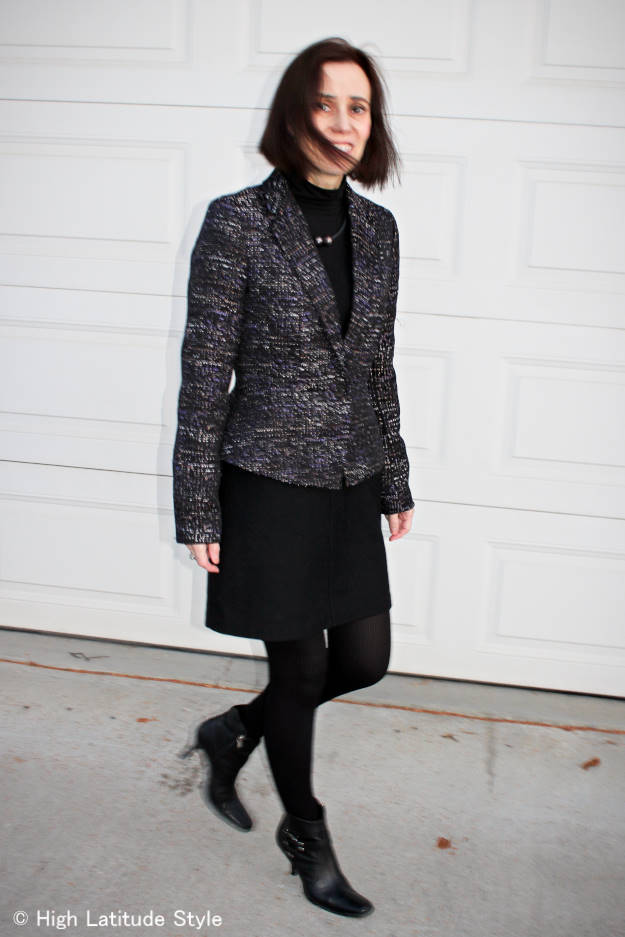 #MatureFashion woman wearing corporate cocktail party look in a cold climate region in winter