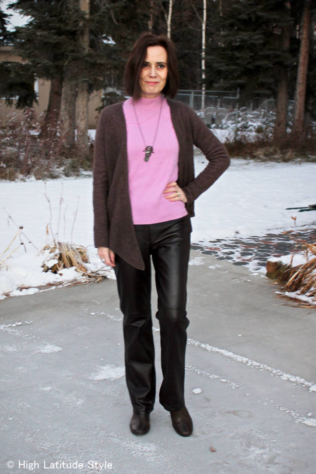 #fashionover50 mature woman in winter office look for a windy day