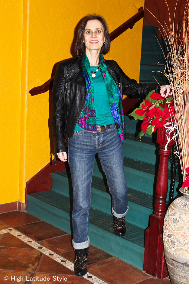 #over40 Casual look with BF jeans and motorcycle jacket | High Latitude Style | http://www.highlatitudestyle.com