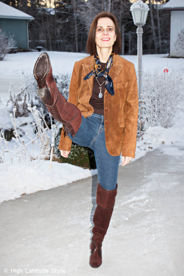 #over40fashion #fashionover50 How to style over-the-knee boots: example with blazer and scarf in the weekly Ageless Style series @ High Latitude Style @ http://www.highlatitudestyle.com