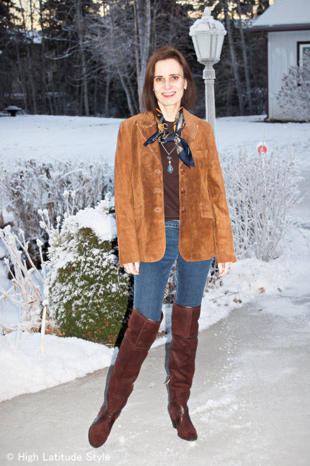 style over 40 Casual weekend look with over-the-knee boots