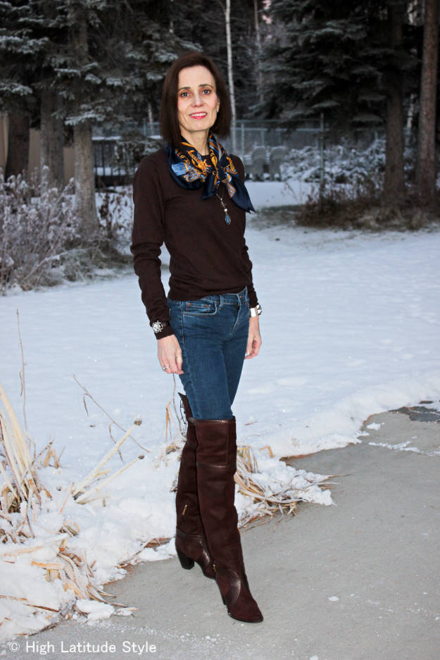 fashion over 50 Casual winter outfit with over-the-knee boots