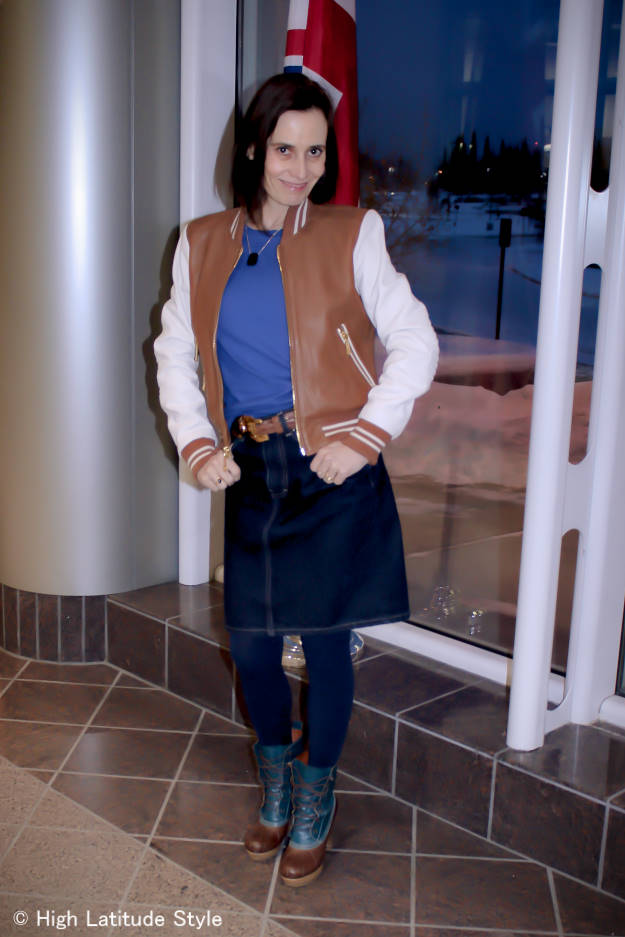 #styleover40 mature woman in utility jacket with denim skirt