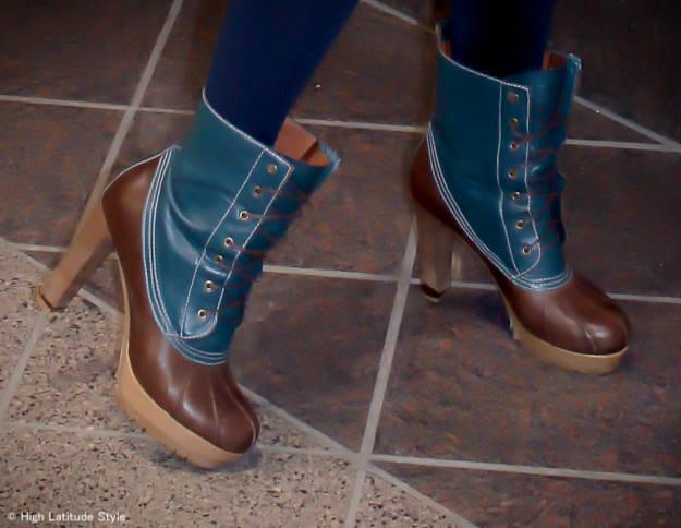 #fashionover50 woman in heeled ducks