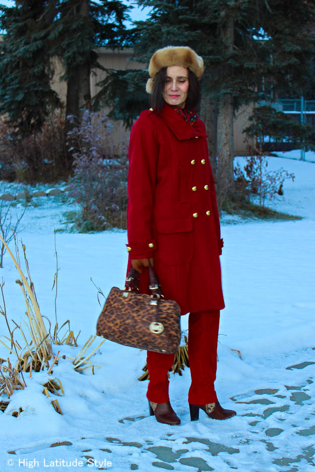 Fashionover50 mature woman in red monochromatic winter work outfit http://wp.me/p3FTnC-2Do