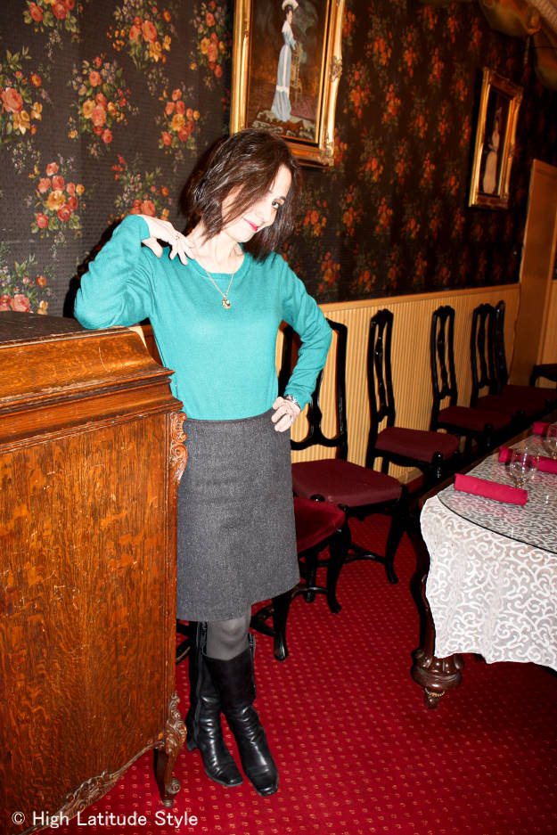 #over40fashion tweed skirt with knee-highs