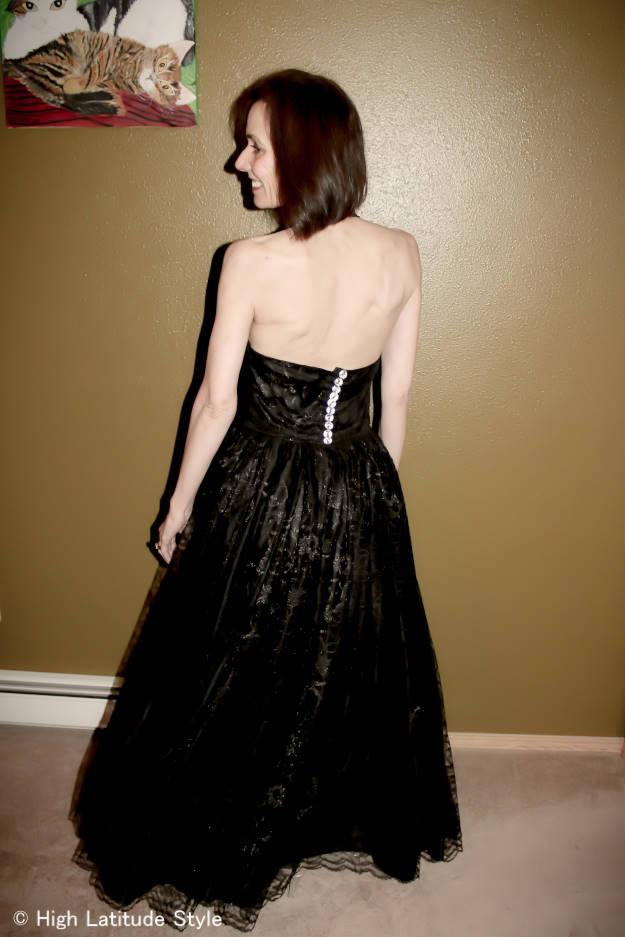 #fashionover40 woman in black lace evening gown