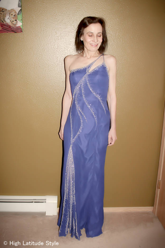 #fashionover50 blue beaded evening gown
