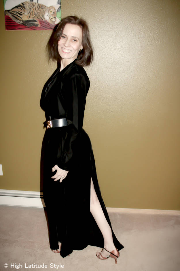#over40 evening gown with back slit | High Latitude Style | http://www.highlatitudestyle.com