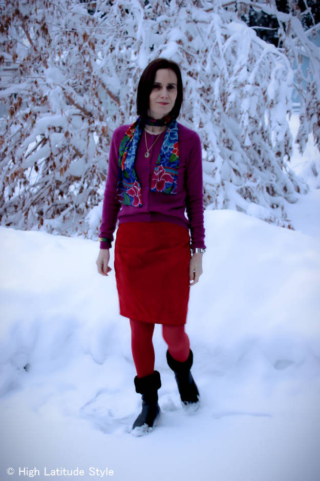 #over40 color blockedt winter work look with scarf | High Latitude Style | http://www.highlatitudestyle.com