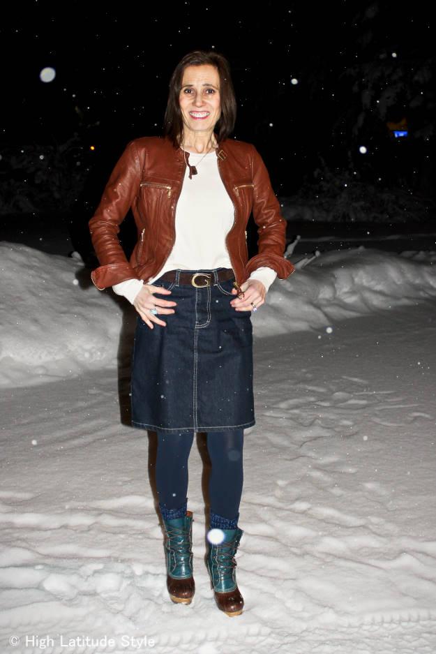 #over-40-fashion Denim skirt with leather jacket  | High Latitude Style | http://www.highlatitudestyle.com