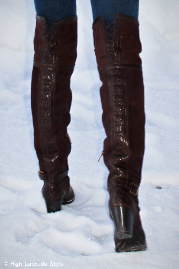 Dior over-the-knee boots over 40 are a style challenge that to be addressed in the Wednesday series Ageless Style @  High Latitude Style @ http://www.highlatitudestyle.com