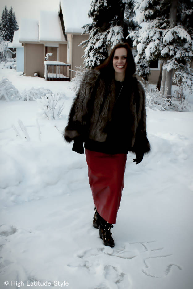 #over+40+fashion Casual winter look with long leather skirt | High Latitude Style | http://www.highlatitudestyle.com