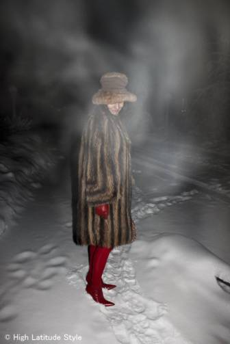 #over40 winter woman in winter outerwear in ice fog | High Latitude Style | http://www.highlatitudestyle.com