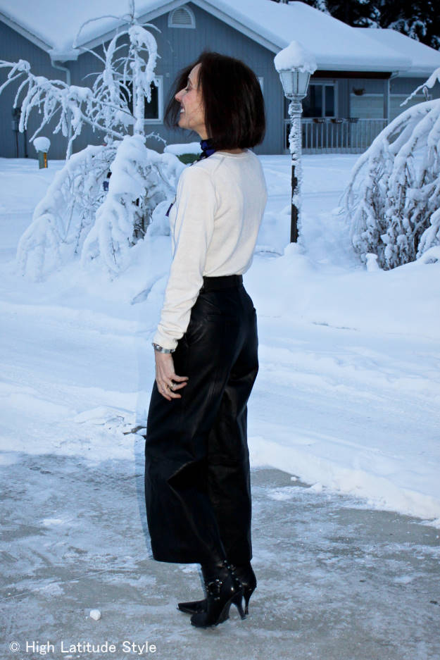 #fashionover40 woman wearing leather culottes