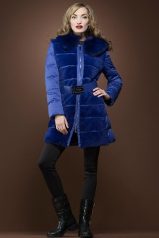ML Furs Blue Rex-Rabbit and Fox Fur Mid-Length Down Coat