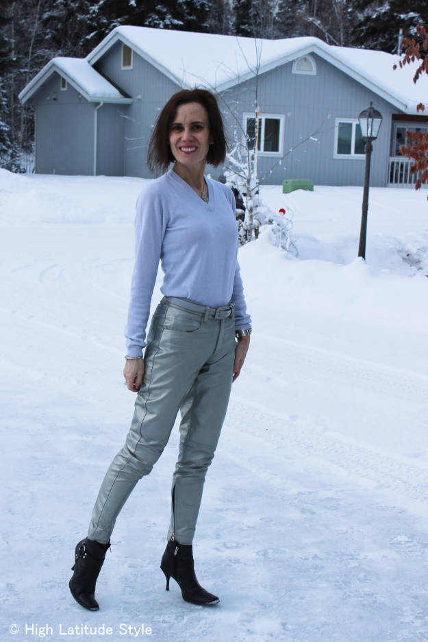 #styleover50 mature woman wearing silver leather pants