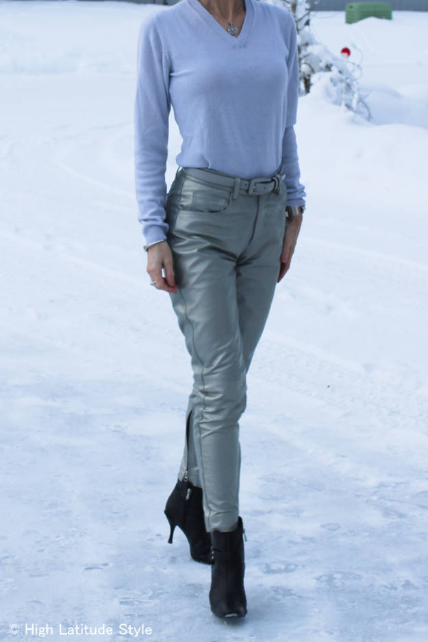 #over40 silver leather pants over 40    High Latitude Style   http://www.highlatitudestyle.com