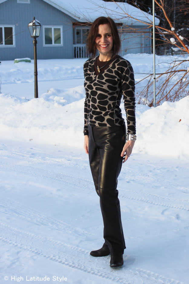 #fashionover40 #fashionover50 How to wear animal print over 40: example giraffe print @ High Latitude Style @ http://www.highlatitudestyle.com