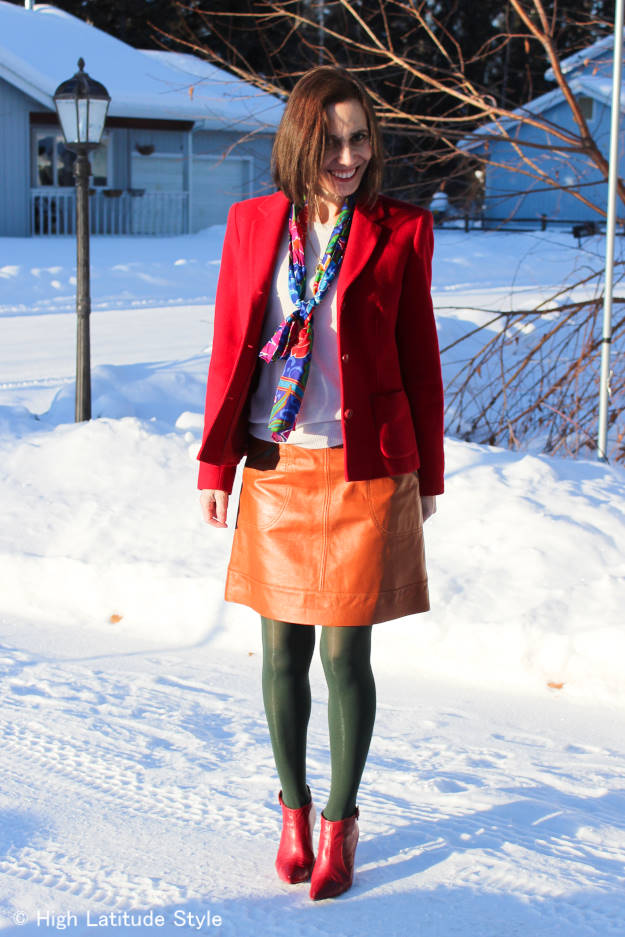 styleover50 red blazer with scarf